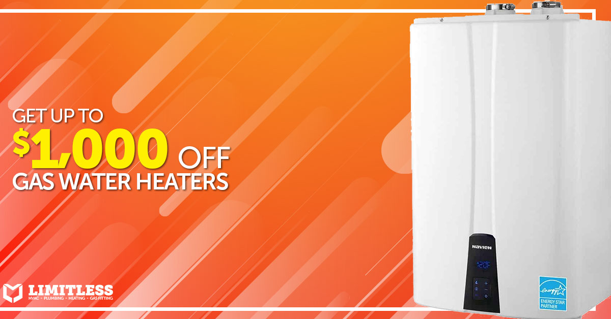 Save up to $1,000 on Gas Water Heaters